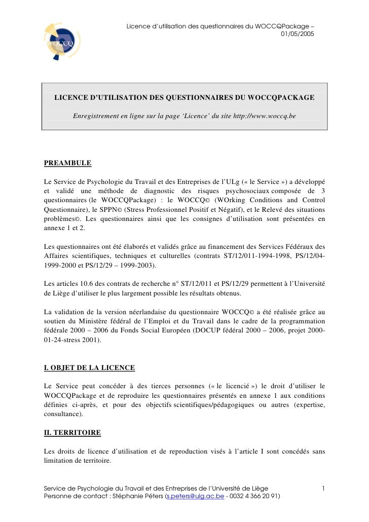 Licence d'utilisation des questionnaires du WOCCQPackage –                                                                ...