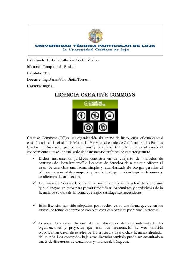 """Estudiante: Lizbeth Catherine Criollo Medina.Materia: Computación Básica.Paralelo: """"D"""".Docente: Ing. Juan Pablo Ureña Torr..."""
