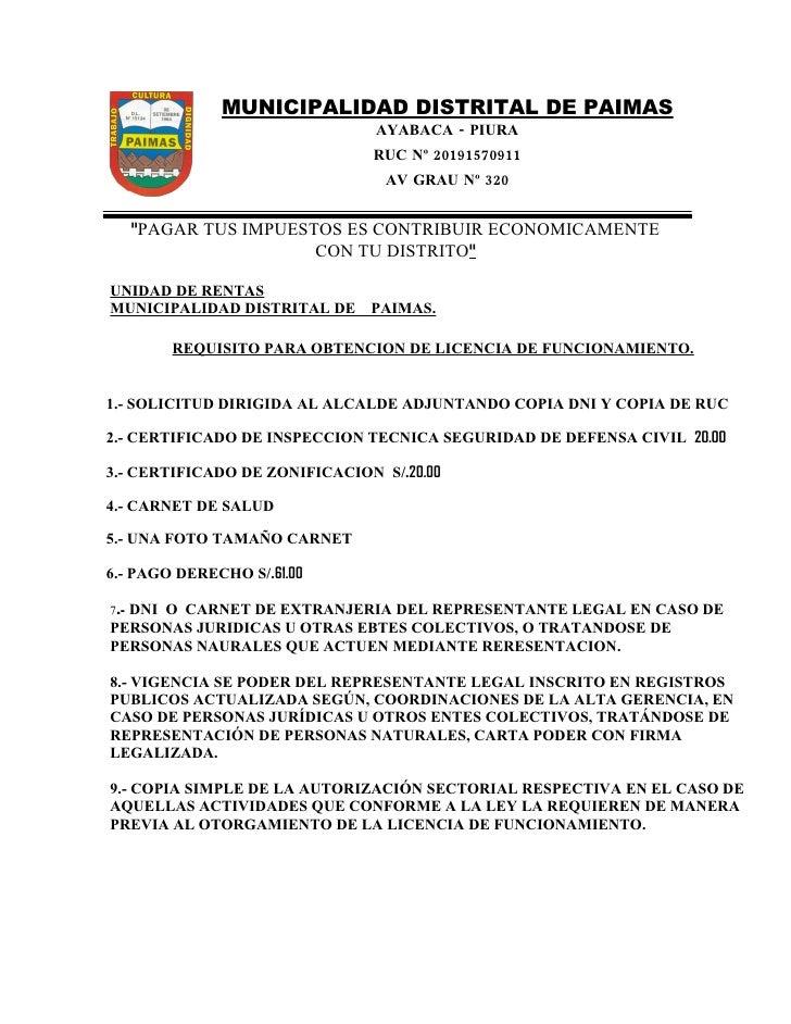MUNICIPALIDAD DISTRITAL DE PAIMAS                                 AYABACA - PIURA                                RUC Nº 20...