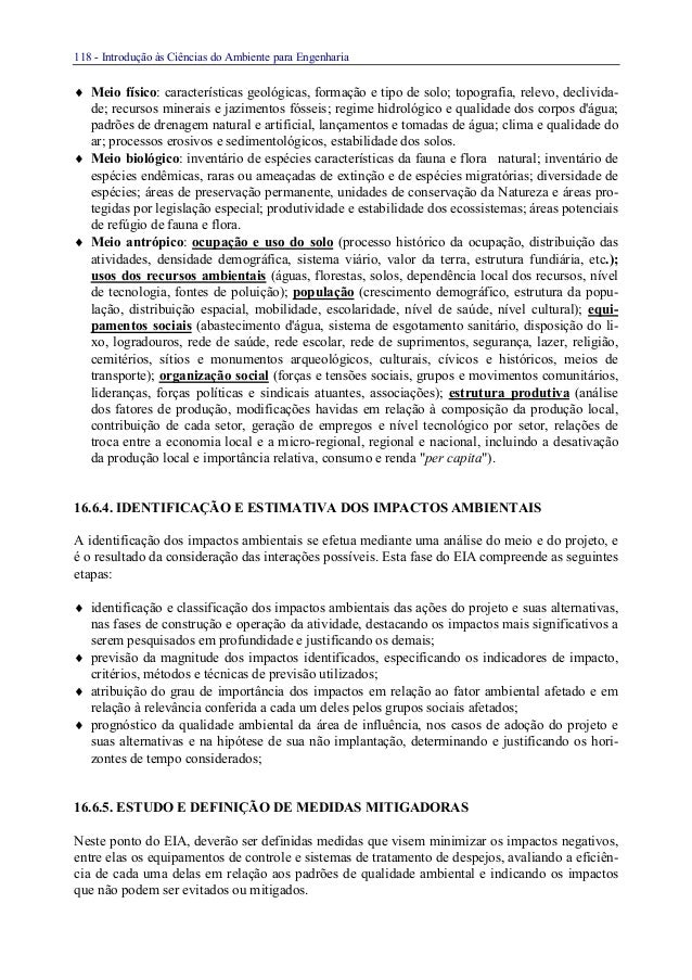 118 - Introdução às Ciências do Ambiente para Engenharia♦ Meio físico: características geológicas, formação e tipo de solo...