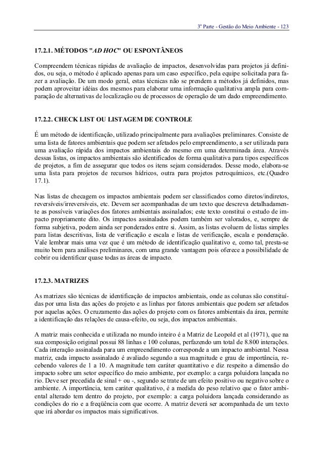 """3aParte - Gestão do Meio Ambiente - 12317.2.1. MÉTODOS """"AD HOC"""" OU ESPONTÂNEOSCompreendem técnicas rápidas de avaliação de..."""