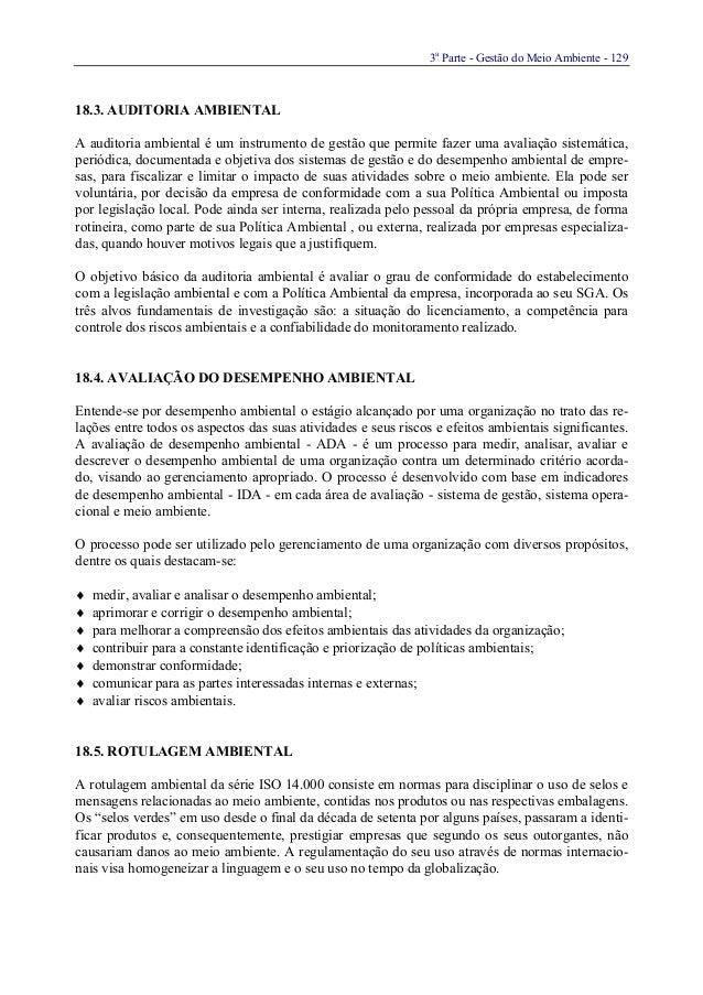 3aParte - Gestão do Meio Ambiente - 12918.3. AUDITORIA AMBIENTALA auditoria ambiental é um instrumento de gestão que permi...
