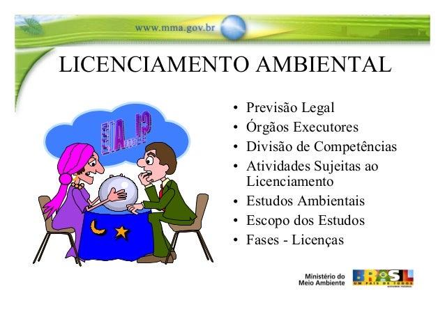 LICENCIAMENTO AMBIENTAL • Previsão Legal • Órgãos Executores • Divisão de Competências • Atividades Sujeitas ao Licenciame...
