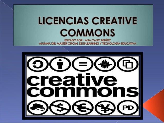  1. Introducción   2.Licencias Creative Commons:  › ►Qué son.  › ►Condiciones.  › ►Tipos.  › ►Formas   3. Pasos para es...