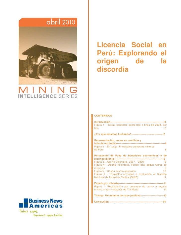 Licencia Social en   Perú: Explorando el   origen     de    la   discordia     CONTENIDOS  Introducción-------------------...