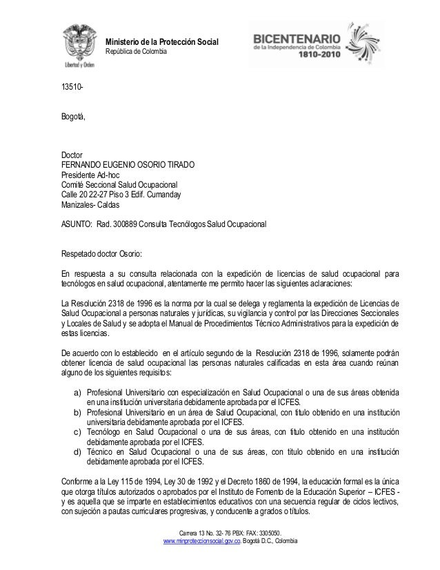 Ministerio de la Protección Social República de Colombia  13510Bogotá,  Doctor FERNANDO EUGENIO OSORIO TIRADO Presidente A...