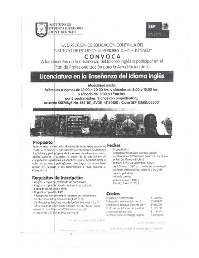 ¡N  ITUÍEQ DE 115305 SUPERLORES  F.  KENNEDY     LA DIRECCIÓN DE EDUCACIÓN CONTINUA DEL  INSTITUTO DE ESTUDIOS SUPERIORES ...