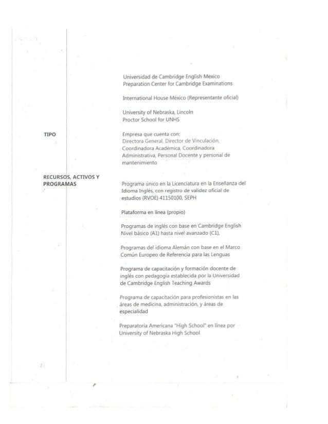 TIPO l  RECURSOS,  ACTIVOS Y PROGRAMAS  Universidad de Cambridge English Mexico Preparation Center for Cambridge Examinati...