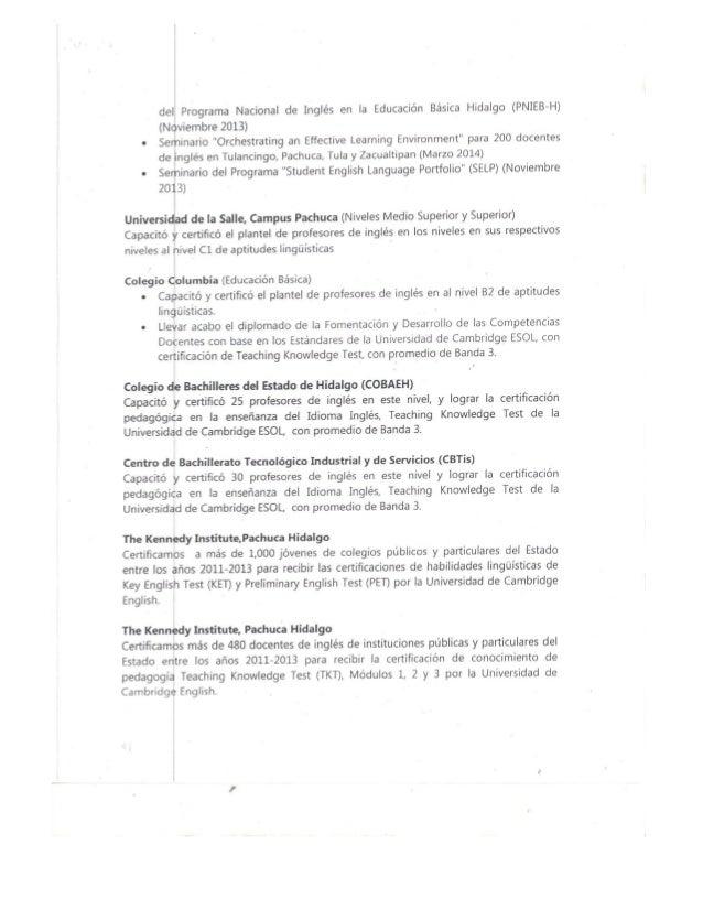 """del Programa Nacional de Inglés en la Educación Básica Hidalgo (PNIEB-H) (Noviembre 2013) o Seminario """"Orchestrating an Ef..."""