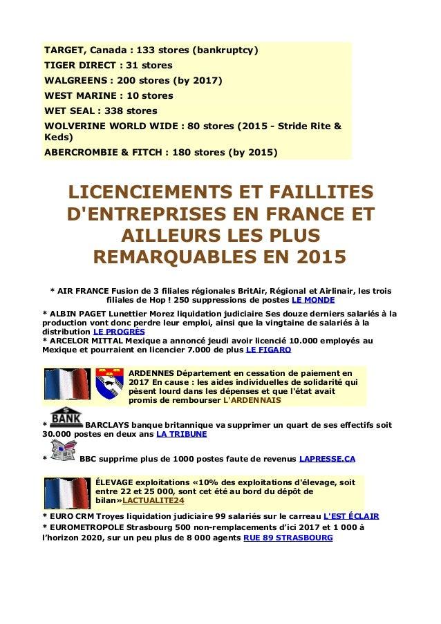 Licenciements et faillites d'entreprises en France et ...