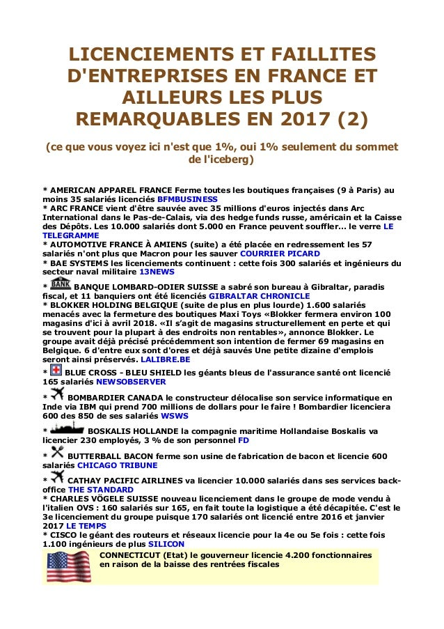Licenciements Et Faillites D Entreprises En France Et Ailleurs Les Pl