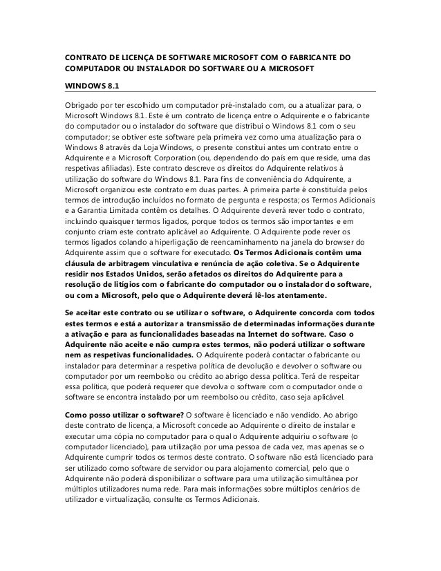 CONTRATO DE LICENÇA DE SOFTWARE MICROSOFT COM O FABRICANTE DO COMPUTADOR OU INSTALADOR DO SOFTWARE OU A MICROSOFT WINDOWS ...