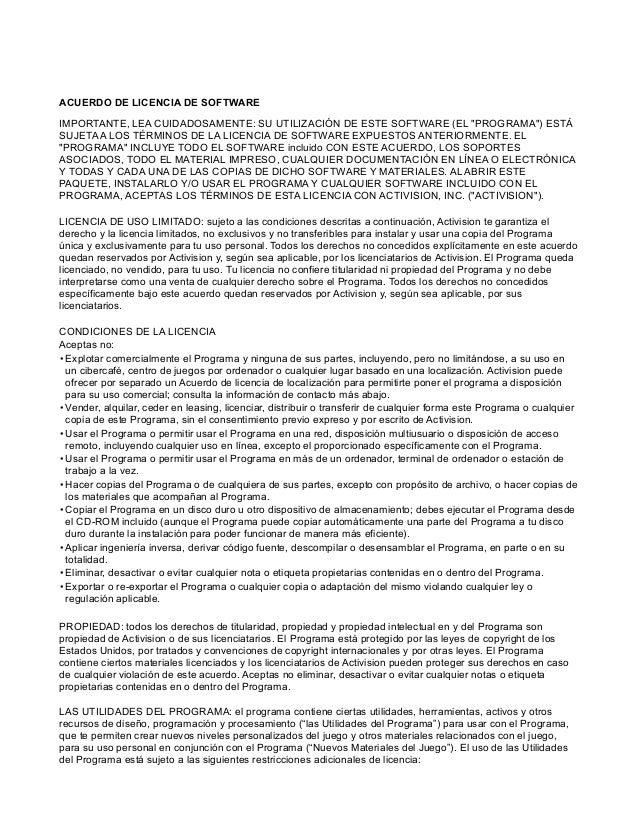 """ACUERDO DE LICENCIA DE SOFTWARE IMPORTANTE, LEA CUIDADOSAMENTE: SU UTILIZACIÓN DE ESTE SOFTWARE (EL """"PROGRAMA"""") ESTÁ SUJET..."""