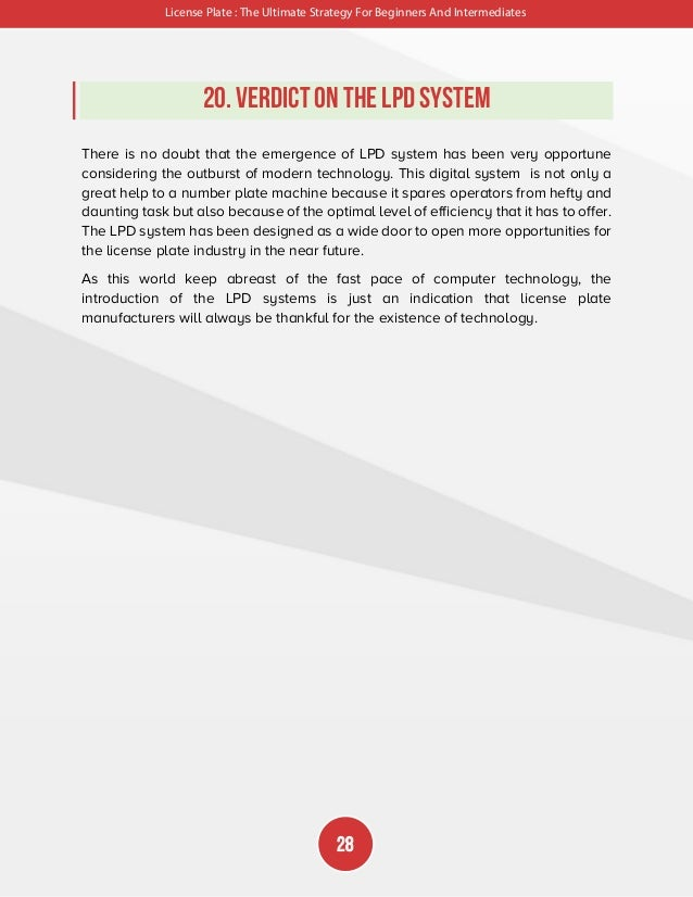 License Plate : The Ultimate Strategy For Beginners And Intermediates 29 Conclusion As conclusion, this document clearly p...