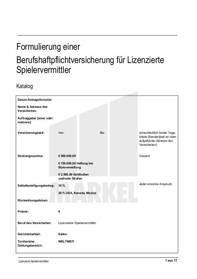 Lizenzierte Spielervermittler 1 von 11 Formulierung einer Berufshaftpflichtversicherung für Lizenzierte Spiele...