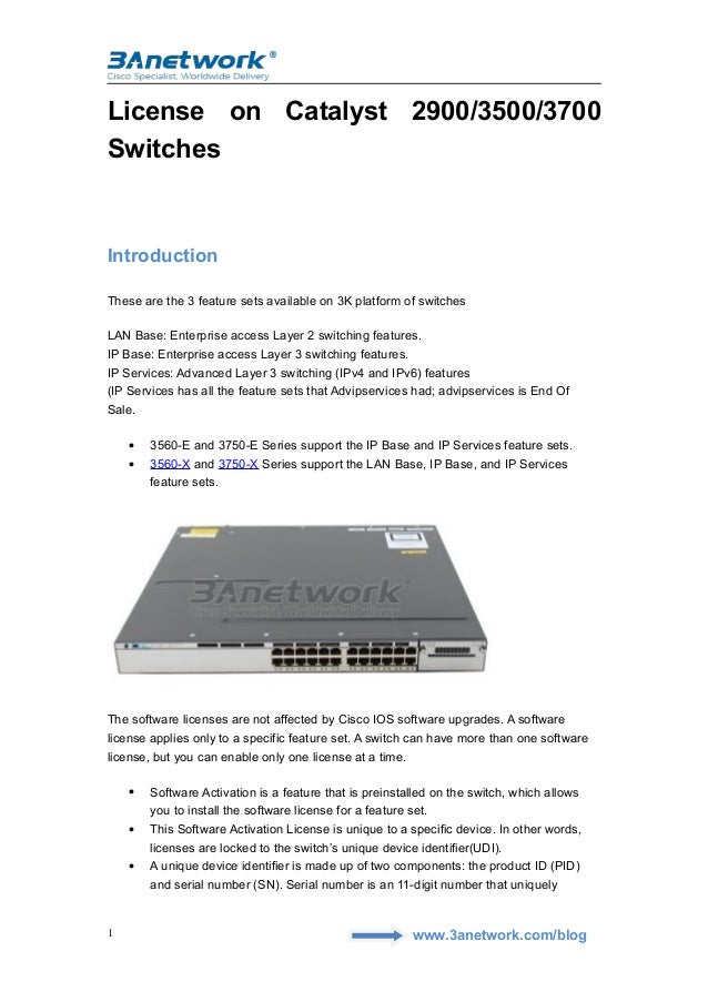 License on cisco catalyst 2900 3500 and 3700 switches 3 anetwork