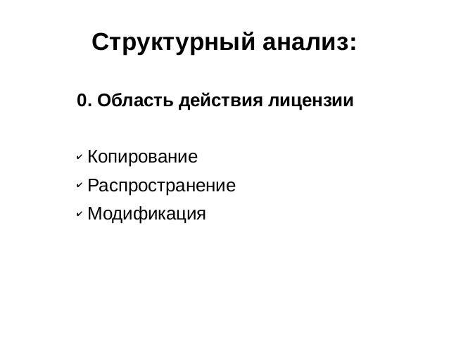 Структурный анализ: 0. Область действия лицензии ✔  Копирование  ✔  Распространение  ✔  Модификация