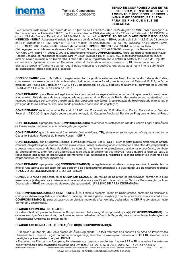 Termo de Compromisso nº 2013.001.000060/TC  TERMO DE COMPROMISSO QUE ENTRE SI CELEBRAM, O INSTITUTO DO MEIO AMBIENTE E REC...