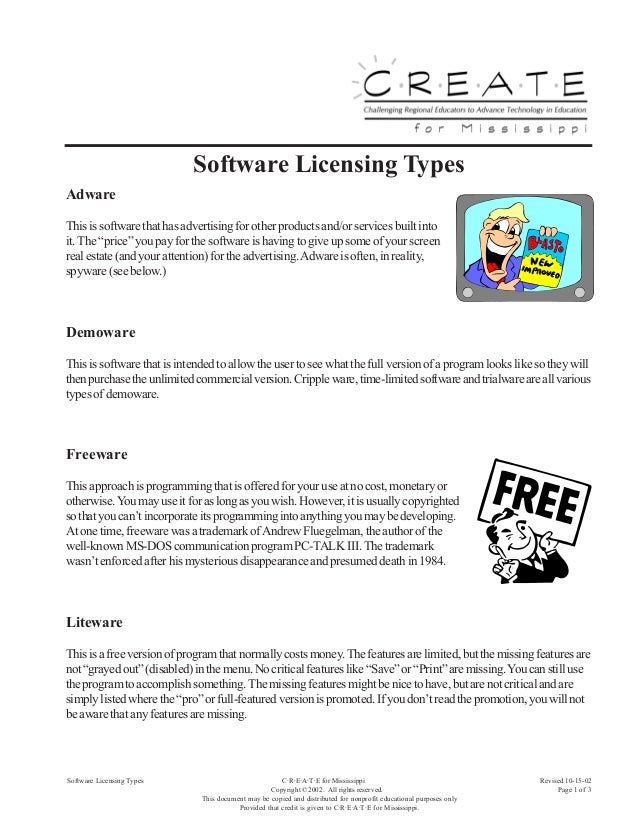 """Software Licensing TypesAdwareThis is software that has advertising for other products and/or services built intoit. The """"..."""