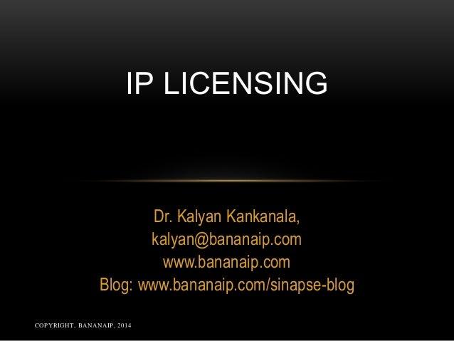 COPYRIGHT, BANANAIP, 2014 Dr. Kalyan Kankanala, kalyan@bananaip.com www.bananaip.com Blog: www.bananaip.com/sinapse-blog I...