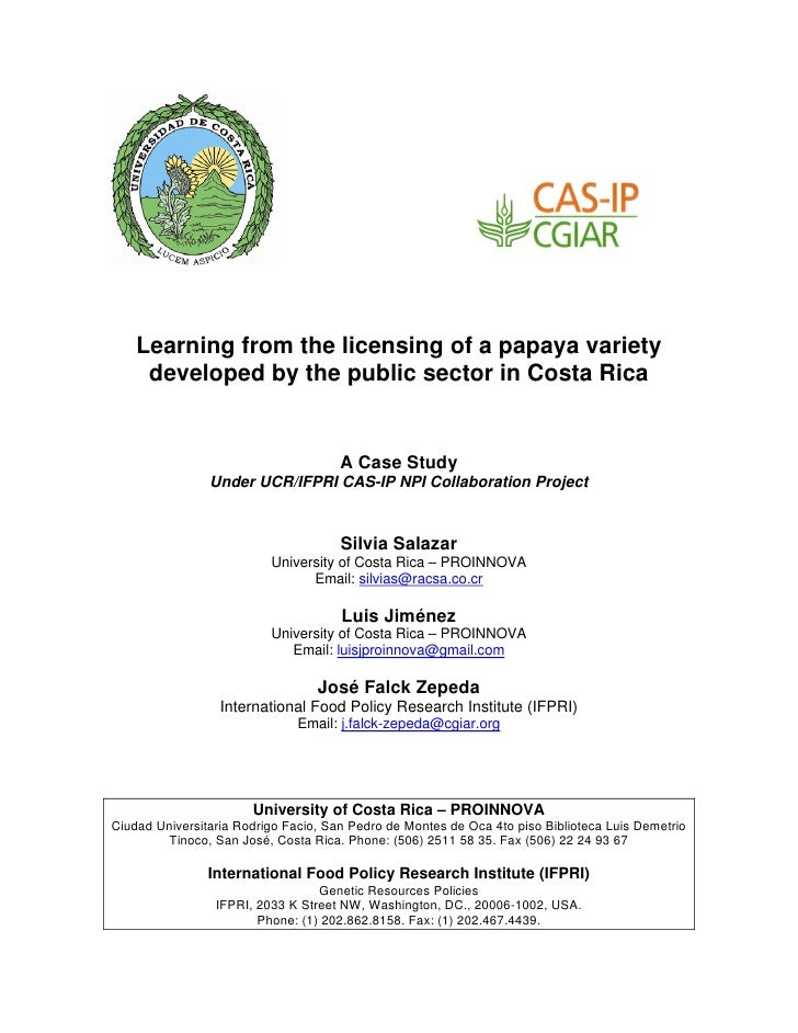 Learning from the licensing of a papaya variety      developed by the public sector in Costa Rica                         ...