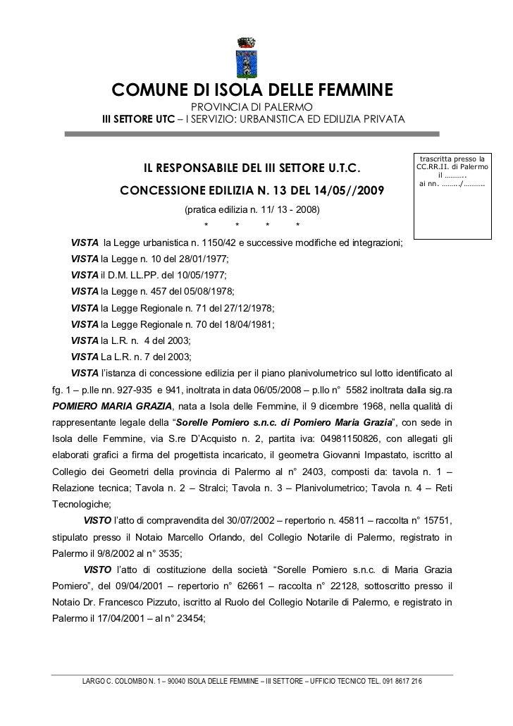 COMUNE DI ISOLA DELLE FEMMINE                                PROVINCIA DI PALERMO            III SETTORE UTC – I SERVIZIO:...