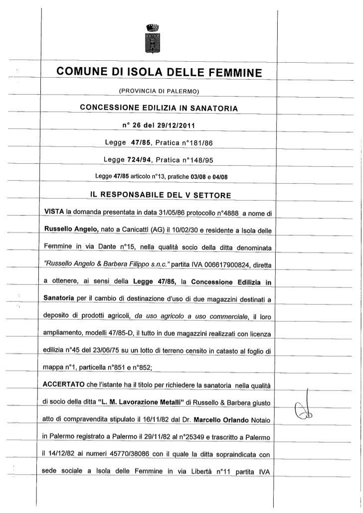 Licenza edilizia  in sanatoria  2011 omer di russello e barbera   c.e.s n.26.11[1]