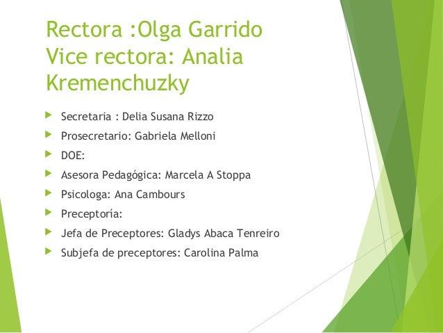 Rectora :Olga Garrido Vice rectora: Analia Kremenchuzky   Secretaria : Delia Susana Rizzo    Prosecretario: Gabriela Mel...