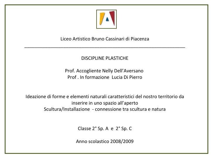Liceo Artistico Bruno Cassinari di Piacenza ______________________________________________________________ DISCIPLINE PLAS...