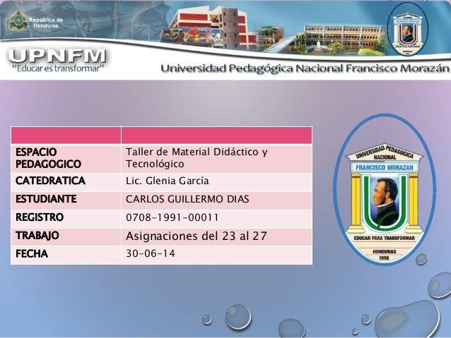 ESPACIO PEDAGOGICO Taller de Material Didáctico y Tecnológico CATEDRATICA Lic. Glenia García ESTUDIANTE CARLOS GUILLERMO D...