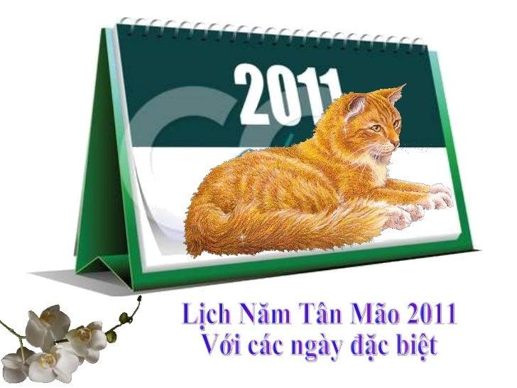 Lịch Năm Tân Mão 2011 Với các ngày đặc biệt