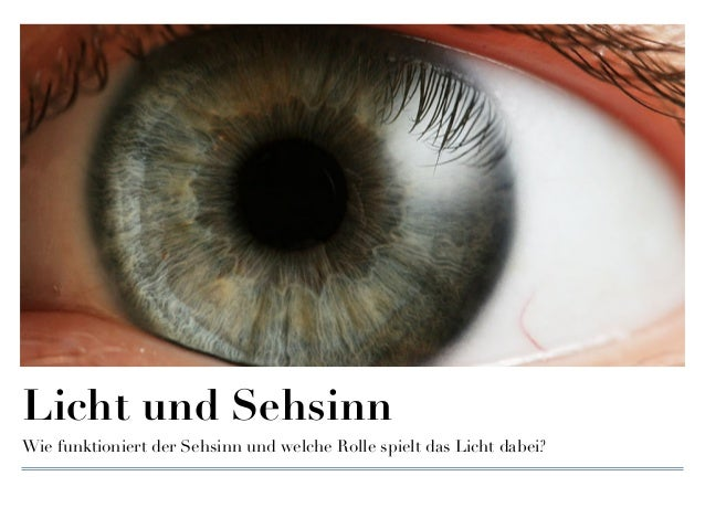 Licht und Sehsinn Wie funktioniert der Sehsinn und welche Rolle spielt das Licht dabei?