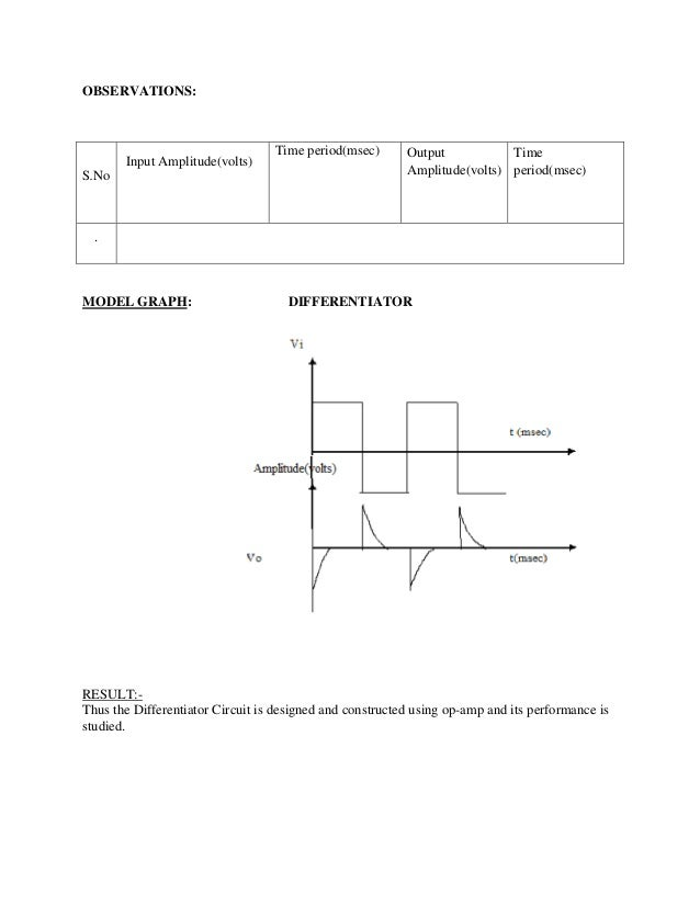 op amp integrator and differentiator lab manual