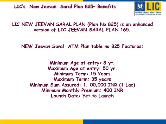 Maturity sum assured calculation for jeevan saral