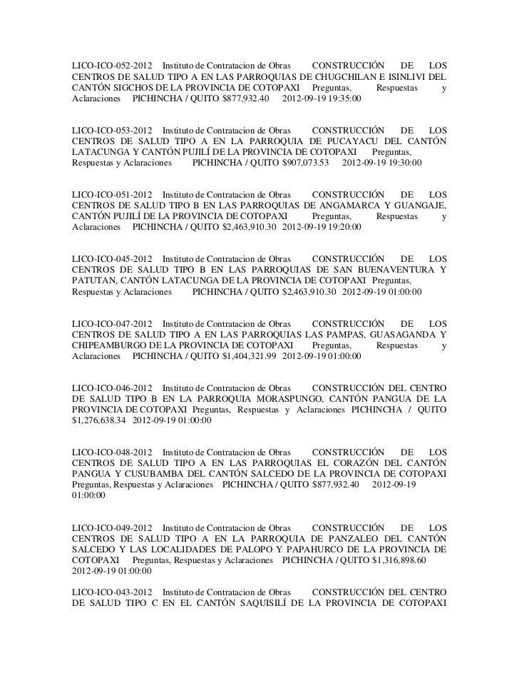 LICO-ICO-052-2012 Instituto de Contratacion de Obras CONSTRUCCIÓN    DE    LOSCENTROS DE SALUD TIPO A EN LAS PARROQUIAS DE...
