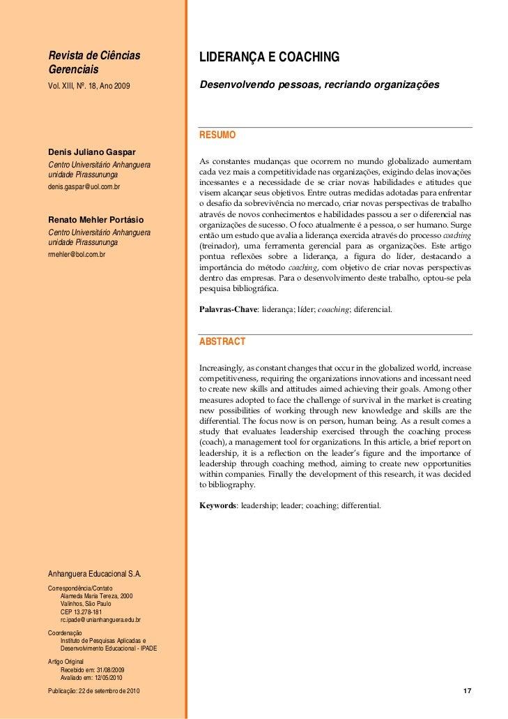 Revista de Ciências                       LIDERANÇA E COACHINGGerenciaisVol. XIII, Nº. 18, Ano 2009               Desenvol...
