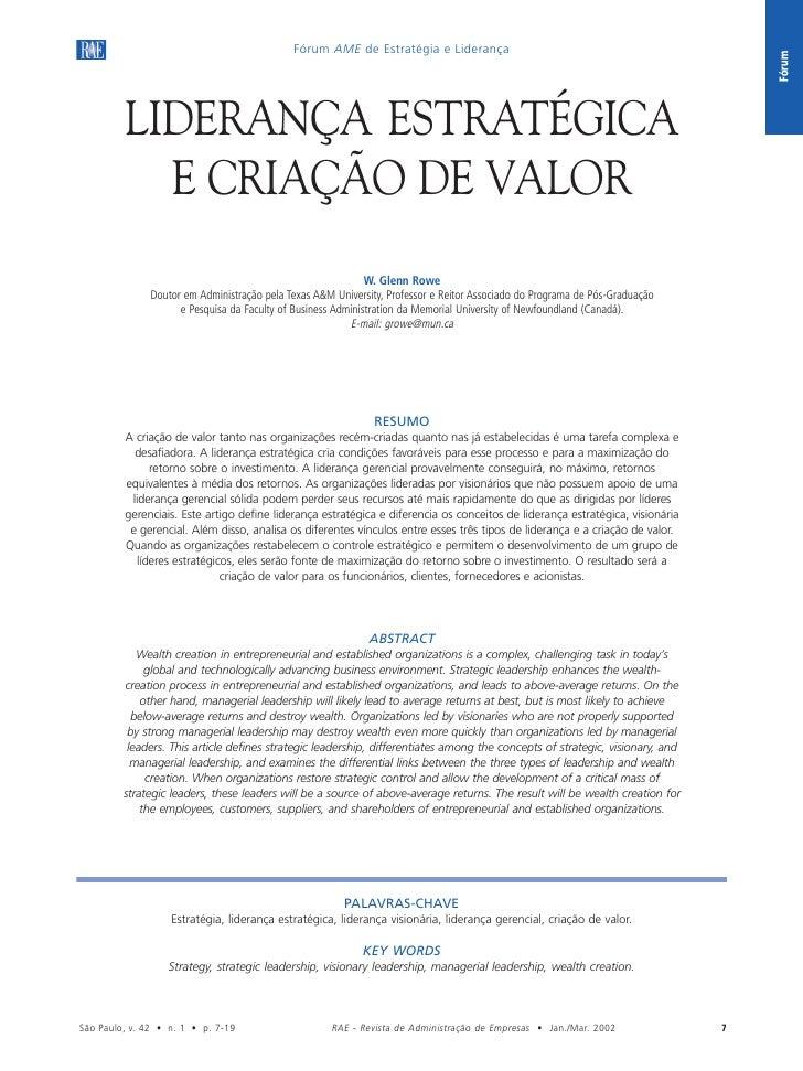 Fórum AME de Estratégia e Liderança                                             Liderança estratégica e criação de valor  ...