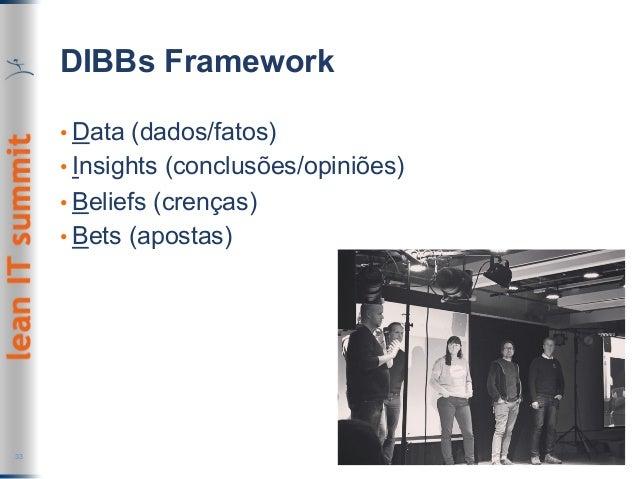 DIBBs Framework •Data (dados/fatos) •Insights (conclusões/opiniões) •Beliefs (crenças) •Bets (apostas) 33