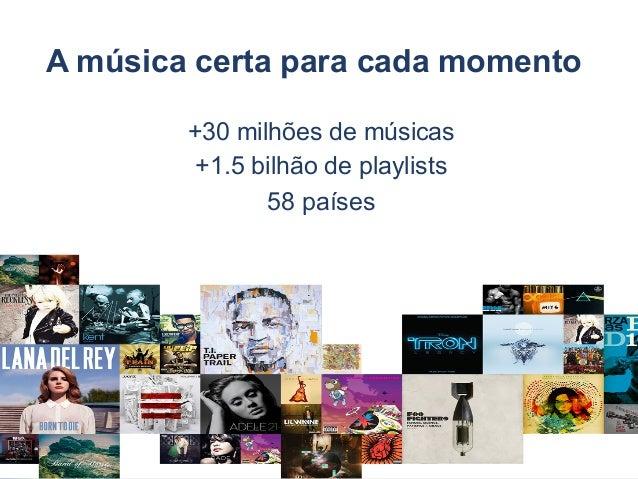 A música certa para cada momento 5 +30 milhões de músicas +1.5 bilhão de playlists 58 países