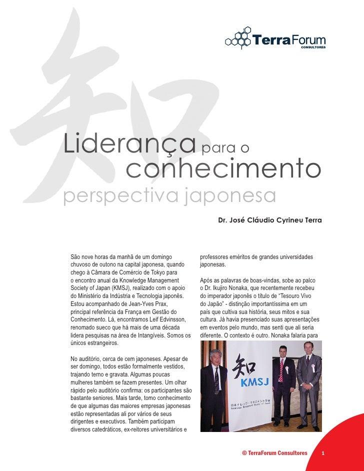 Liderança para o      conhecimento perspectiva japonesa                                                               Dr. ...