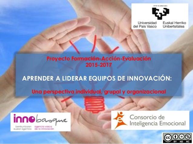 Proyecto Formación-Acción-Evaluación 2015-2017 APRENDER A LIDERAR EQUIPOS DE INNOVACIÓN: Una perspectiva individual, grupa...