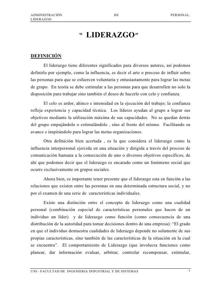 """ADMINISTRACIÓN                               DE                             PERSONAL.LIDERAZGO.                          """"..."""