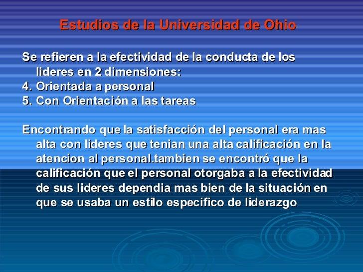 <ul><li>Estudios de la Universidad de Ohio </li></ul><ul><li>Se refieren a la efectividad de la conducta de los lideres en...