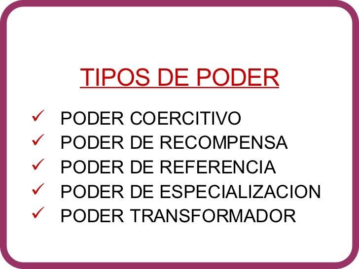 <ul><li>TIPOS DE PODER </li></ul><ul><li>PODER COERCITIVO </li></ul><ul><li>PODER DE RECOMPENSA </li></ul><ul><li>PODER DE...