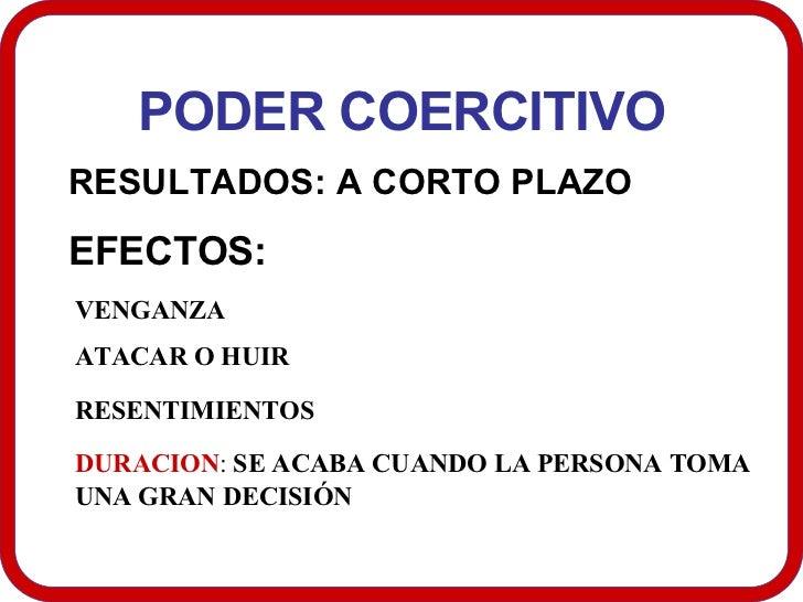 PODER COERCITIVO RESULTADOS: A CORTO PLAZO  EFECTOS:  VENGANZA ATACAR O HUIR  RESENTIMIENTOS   DURACION :  SE ACABA CUANDO...
