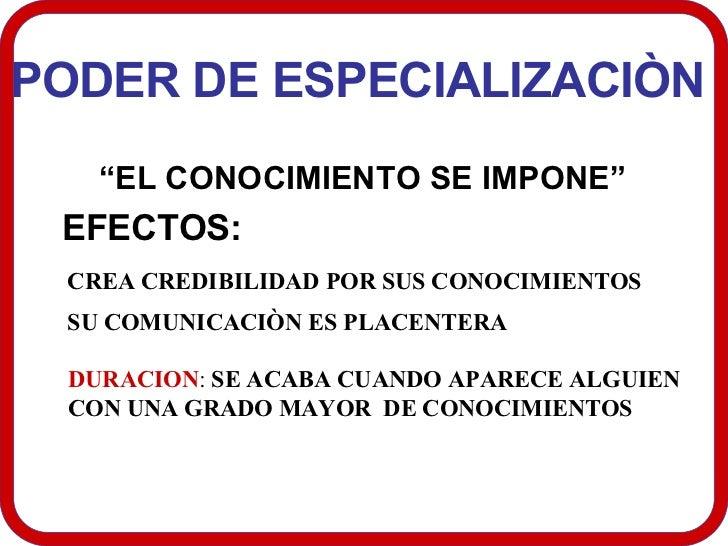"""PODER DE ESPECIALIZACIÒN  """" EL CONOCIMIENTO SE IMPONE""""  EFECTOS:  CREA CREDIBILIDAD POR SUS CONOCIMIENTOS  SU COMUNICACIÒN..."""