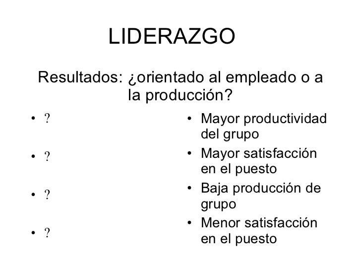 Resultados: ¿orientado al empleado o a la producción? <ul><li>? </li></ul><ul><li>? </li></ul><ul><li>? </li></ul><ul><li>...