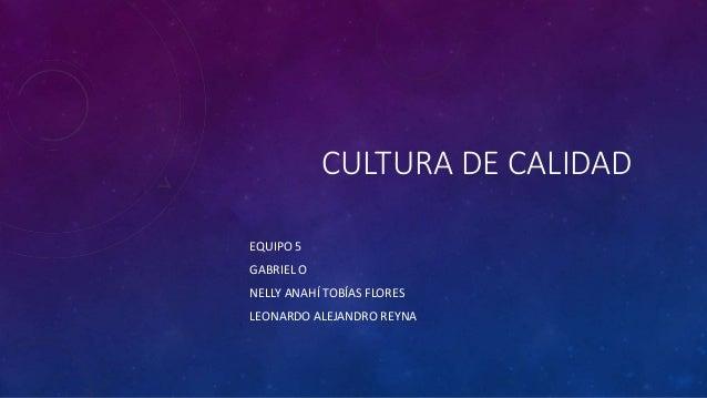 CULTURA DE CALIDAD EQUIPO 5 GABRIEL O NELLY ANAHÍ TOBÍAS FLORES LEONARDO ALEJANDRO REYNA