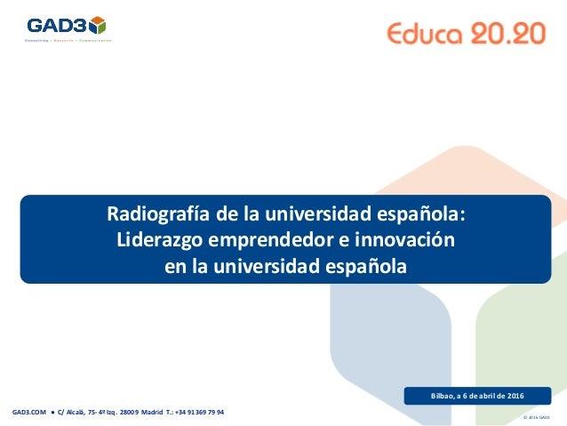 Radiografía de la universidad española: Liderazgo emprendedor e innovación en la universidad española Bilbao, a 6 de abril...