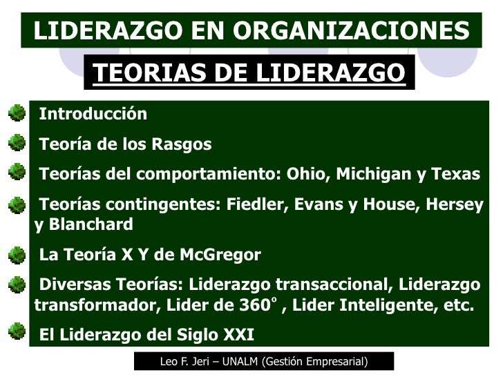 LIDERAZGO EN ORGANIZACIONES       TEORIAS DE LIDERAZGOIntroducciónTeoría de los RasgosTeorías del comportamiento: Ohio, Mi...